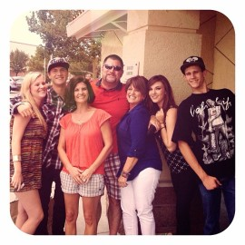 The day I met my birth mom (blue shirt) in person for the first time. Here we are outside of Olive Garden with Ed and a few of my kids!